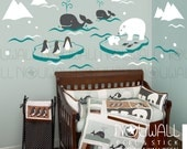 Nursery, baby, kids, Wonderful Arctic, iceberg, polar bear, whale, Penguin, Narwhal, Walrus, Seal Wall Decal Wall Sticker - dd1038