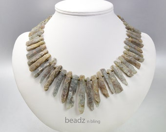 Raw Stone Kyanite Necklace Moss Green and Brown Stick Collar Necklace or Bib Necklace