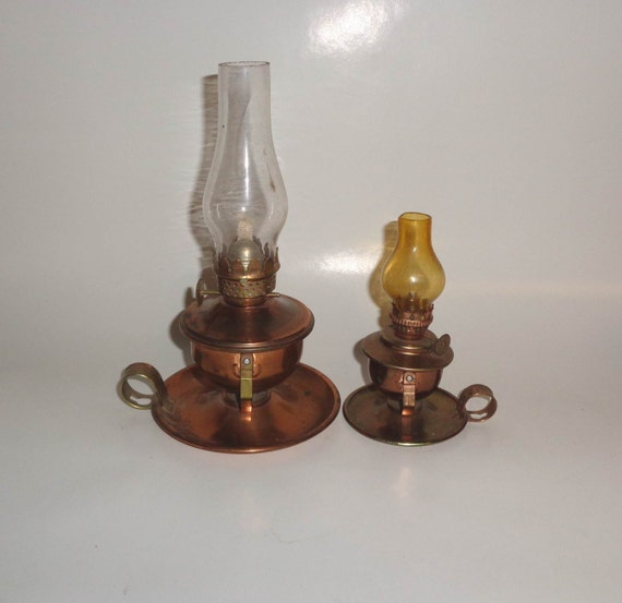 Wall Kerosene Lamps : 2 Vintage Mini Copper Finish Kerosene Lamps Wall or by AnaWho