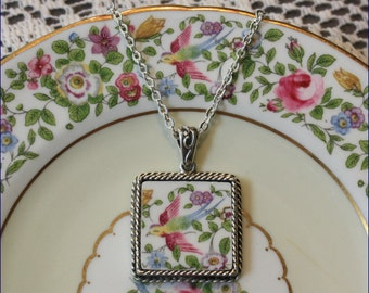 Broken China Jewelry, Handcrafted Cotswold, Rainbow Bird Square Pendant Necklace