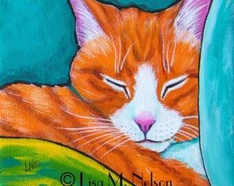 Original Sweet Sleeping Orange Tabby Cat Portrait Acrylic Painting