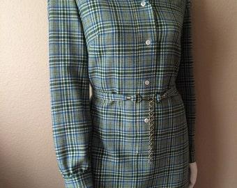 Vintage Women's 60's Pendleton Dress, Wool, Plaid, Turquoise, Long Sleeve (M/L)