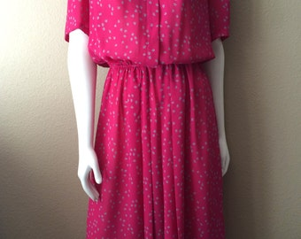 Vintage Women's 80's Dress, Fuchsia, Printed, Short Sleeve by JT Dress (S/M)