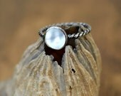 COUPON IN SHOP - Mother of Pearl and Sterling Stacking Ring - Gift for Her - Everyday Stacker - Modern Basics - Gifts Under 50