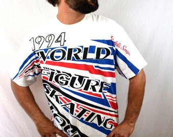 Vintage 1990s 1994 Oversized Tshirt Tee Shirt - World Figure Skating Tour