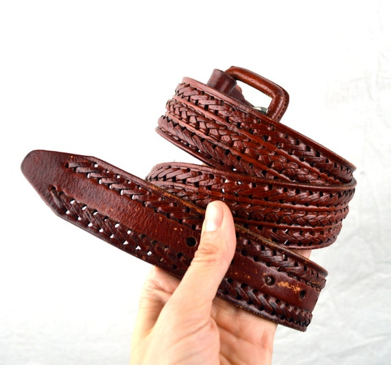 vintage mexican tooled leather belt size 38 by rogueretro