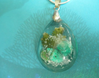 Walk On The Beach-Glass Teardrop Dimensional Pendant-Gifts For 30-Ltd Edition-Sea Shells, Beach Sand, Frosted Ferns-Ocean Inspired