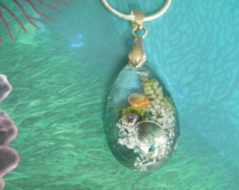 Walk On The Beach Glass Teardrop Dimensional Pendant-Ltd Edition-Sea Shells, Beach Sand, Frosted Ferns-Ocean Inspired-Gifts Under 32