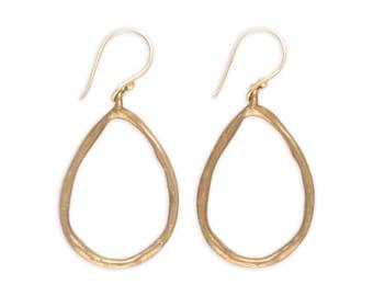 Rustic Earrings - Bronze Earrings - Teardrop Hoop Earrings - Artisan Earrings - Metalwork Bronze Jewelry - Egyptian Rain Earrings (EB-TD)