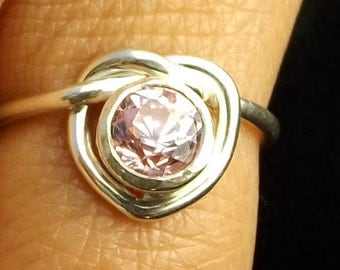 Sterling silver heart knot ring mother's day ring bride maid ring best friend ring