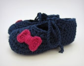 Navy Blue Baby Girl Shoes - Blue and Pink baby girl booties, newborn girl, baby girl clothes, baby girl gift