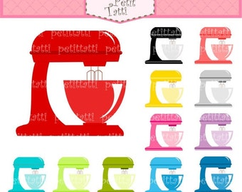 ON SALE Kitchen Mixer Clipart Clip Art - cooking utensil, kitchen equipment, Colourful mixer, INSTANT Download Digital clip art