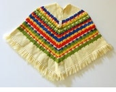Vintage 60s Girls Poncho Handmade Vintage Fringed Poncho / Childs Hippie Poncho Sweater Poncho Cape / 1960s Childrens Knit Poncho / Small S