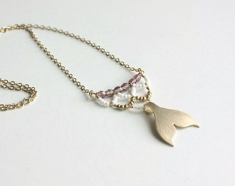 Gold Mermaid Necklace - mermaid jewelry, whale tail necklace, long beach necklace, fish scale, nautical ocean necklace - Purple Siren's Call