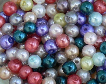 Assorted Colors, Glass Pearl Beads, 4mm Round 100 Pcs - Dollar SALE