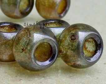 Green Luster Lumi Roller Large Hole Rondelle Czech Glass Beads 12mm: 6 Pcs
