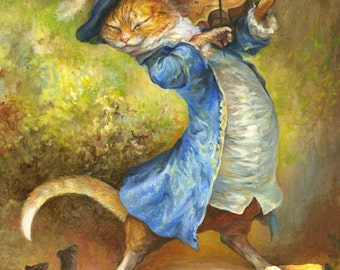 Cat with Fiddle (print)