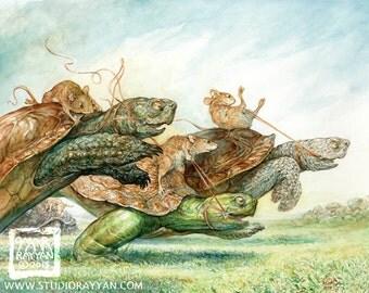 Full Gallop (print) mouse rider, turtle race, sport, athlete, fairy tale, fantasy art, artwork, illustration