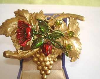 Flower Brooch Gold  Green Peridot  Crystal  Stone