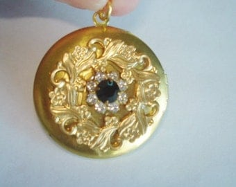 Rhinestone Flower Locket  Gold Tone