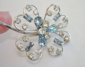 Signed Star Art  Sterling  Rhinestone  Brooch