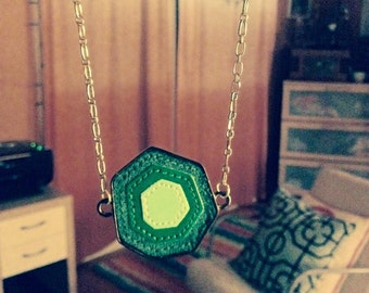 Necklace - Green Geometric on Antique Silver Chain