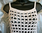 Crochet Mesh Tank, white and tan, Teens by AngelAndFairyDesigns on Etsy.com