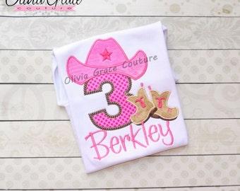Cowgirl Birthday Shirt, Western Birthday Shirt, Cowboy Birthday Shirt, 1st Birthday, Any number or letter, Embroidered Shirt or Bodysuit