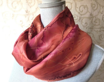 Autumn Browns and Red with Gold Hand Painted Silk Scarf