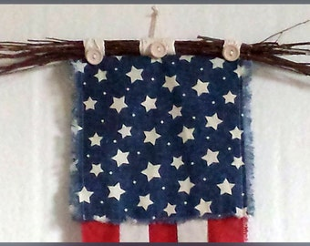Grapevine Bow Topper, Rustic Look, Patriotic Stars & Stripes Banner, Country Americana Theme Door or Wall Hanging