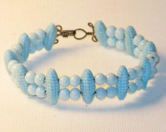Vintage Baby Blue Glass Cuff Bracelet (BR-1-2)