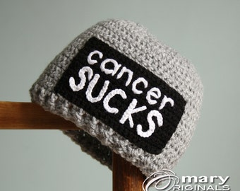 Cancer Sucks Hat, Cancer Awareness, Crochet Beanie, Chemo Cap, Cancer Hat, Men's Clothing, Women's Clothing, Accessories, Breast Cancer