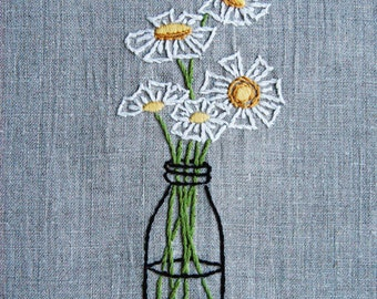 PDF Embroidery Pattern - Daisies in a Bottle Flower Embroidery Pattern