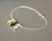 Cat Bracelet, Gold Cat Bracelet Black Cat Bracelet Silver Cat Bracelet, Three 3 Cat Charms Bracelet, Pet Memorial Jewelry, Birthday Gift