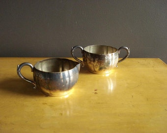 Silverplate Sugar Bowl and Creamer - Vintage Silver Plate Vases with Handles