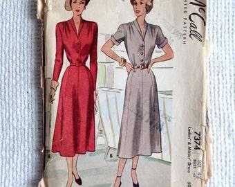 "McCall. Woman's Size 42.  Dress Pattern 7374 Uncut.  Vintage 1940 sewing pattern.    Bust size 42"".  No. 7374."