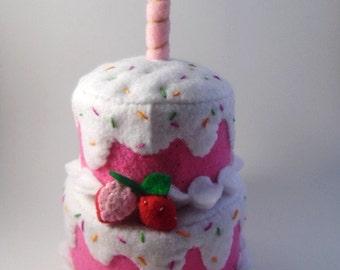 Felt Strawberry Sprinkles Birthday Cake