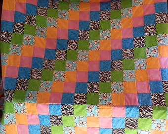 Twin size Zebra/Butterfly print quilt