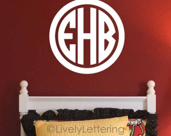 """22"""" Circle Monogram wall decal, 3 letter initials, Circle Block Monogram Decal, monogram vinyl lettering (LL0933)"""