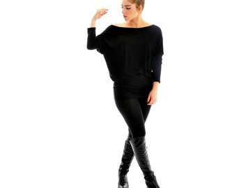 Long Sleeve Shirt- Women oversized long sleeve shirt/ Black long sleeve shirts