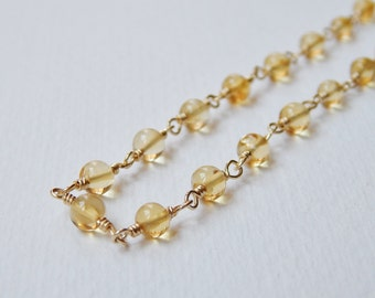 Citrine Necklace - Gold Filled Beadwork Necklace Rosary Chain Beaded Necklace Rosary Necklace