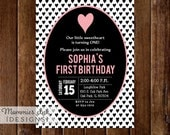 Black and White Heart Birthday Party Invitation, Black & White Hearts, Pink Heart, Pink and Black Invitation, Modern Invitation, Valentine