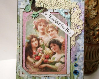 Handmade Card Thinking of You Vintage - Style Chic Cottage So Thankful For You Blue Vicrorian