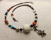 NECKLACE Goddess of the Sea with sterling silver starfish, red coral, turquoise