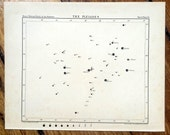 1910 PLEIADES STAR MAP chart original antique celestial constellation print - no grid