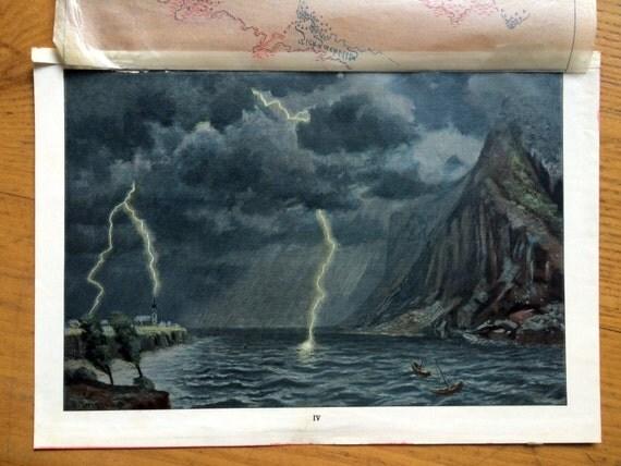 1900 LIGHTNING STORM print original antique weather lithograph