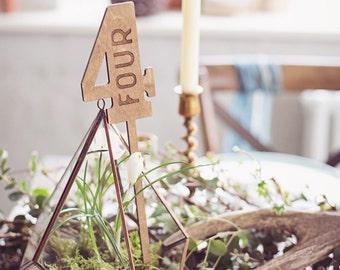 Rustic Wood Wedding Table Numbers Wax Finish