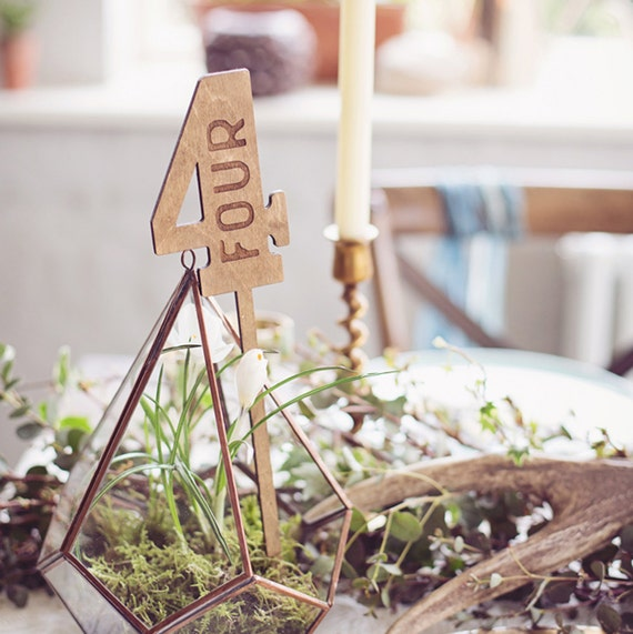 Rustic Wood Wedding Table Numbers Wax Finish