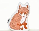 baby fox pillow, fox plush, orange fox pillow, animal pillow, fox pillow, fox nursery decor, fox plushie, woodland animals, animal cushion