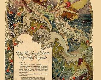 antique art deco cosmetic djer kiss advertisement fairy mermaid illustration digital download